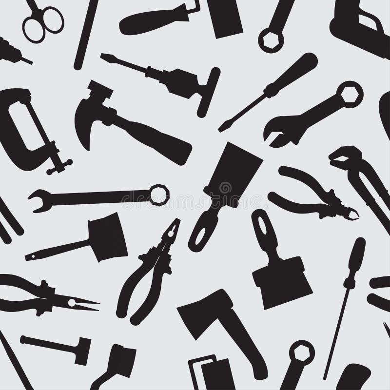 Naadloos patroon met instrumenten en hulpmiddelen stock foto's