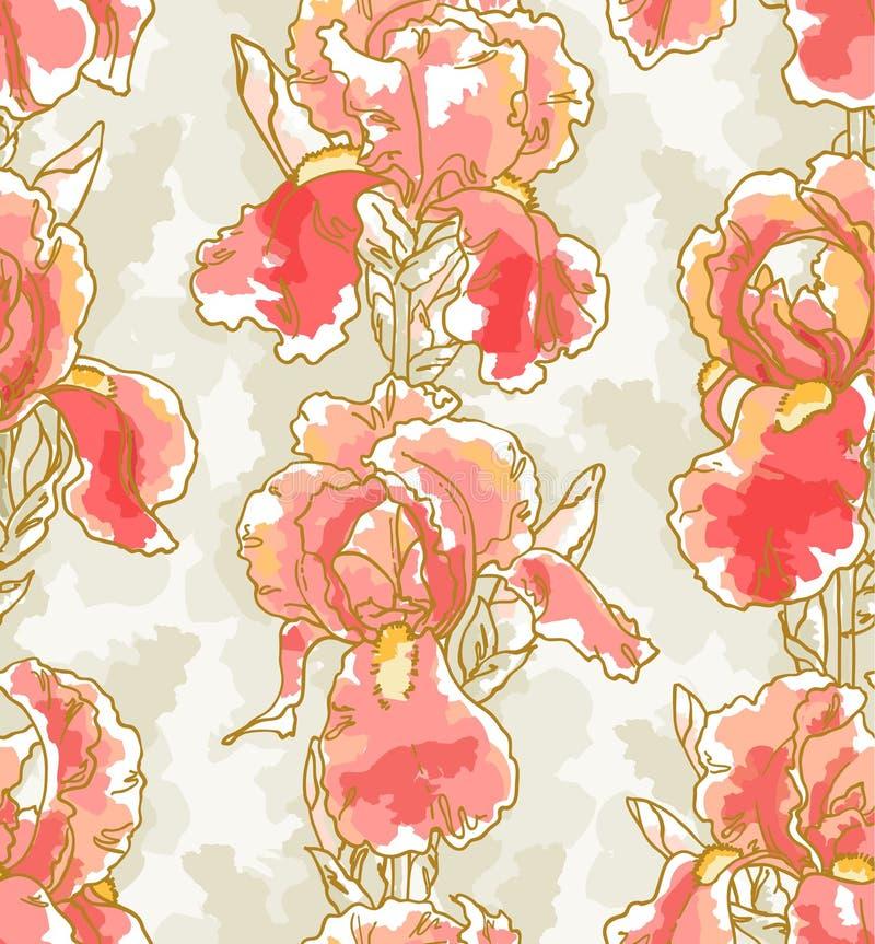 Naadloos patroon met iris stock illustratie
