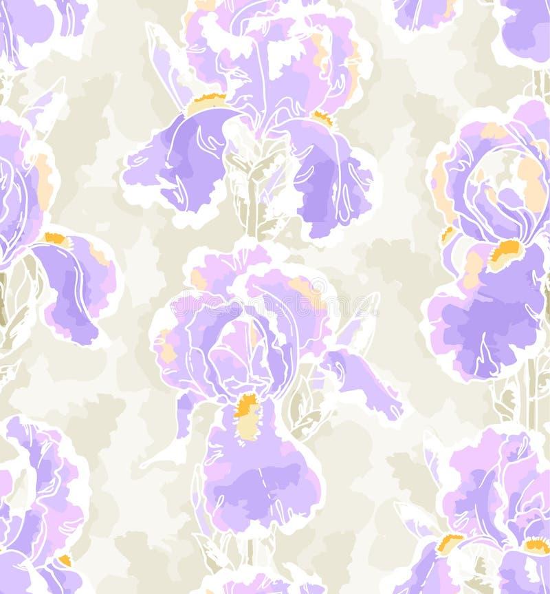 Naadloos patroon met iris vector illustratie