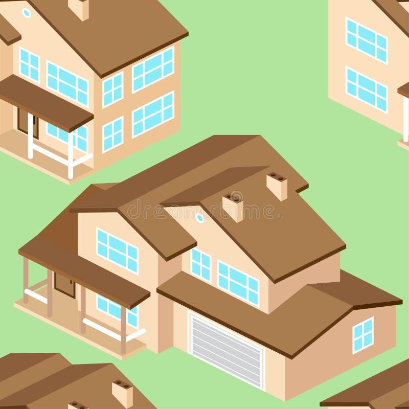 Naadloos patroon met Isometrisch Amerikaans huis in de voorsteden Vectord royalty-vrije illustratie