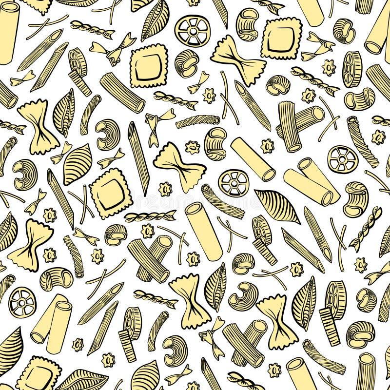 Naadloos patroon met Italiaanse macaroni van verschillende soorten De gekleurde hand trekt op witte achtergrond royalty-vrije illustratie