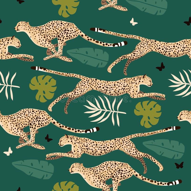 Naadloos patroon met jachtluipaarden en bladeren Vector grafiek vector illustratie
