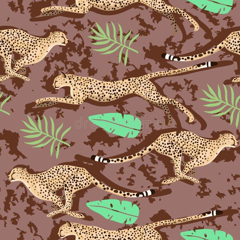 Naadloos patroon met jachtluipaarden en bladeren Vector grafiek royalty-vrije illustratie