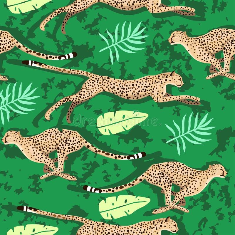 Naadloos patroon met jachtluipaarden en bladeren Vector grafiek stock illustratie