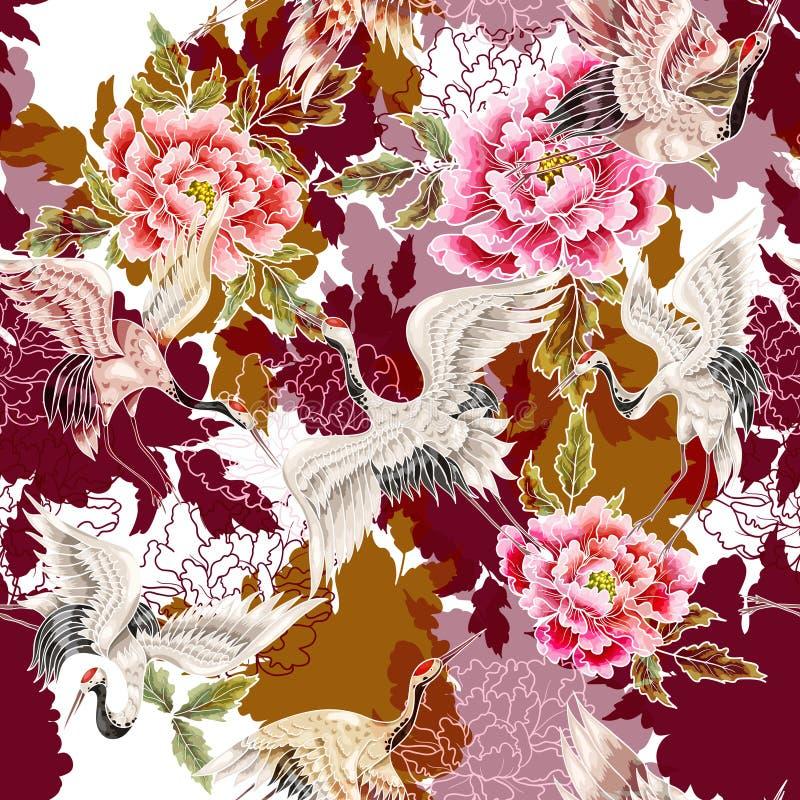 Naadloos patroon met Japanse witte kranen royalty-vrije illustratie