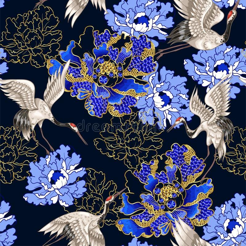 Naadloos patroon met Japanse witte kranen en pioen, geborduurde lovertjes royalty-vrije illustratie
