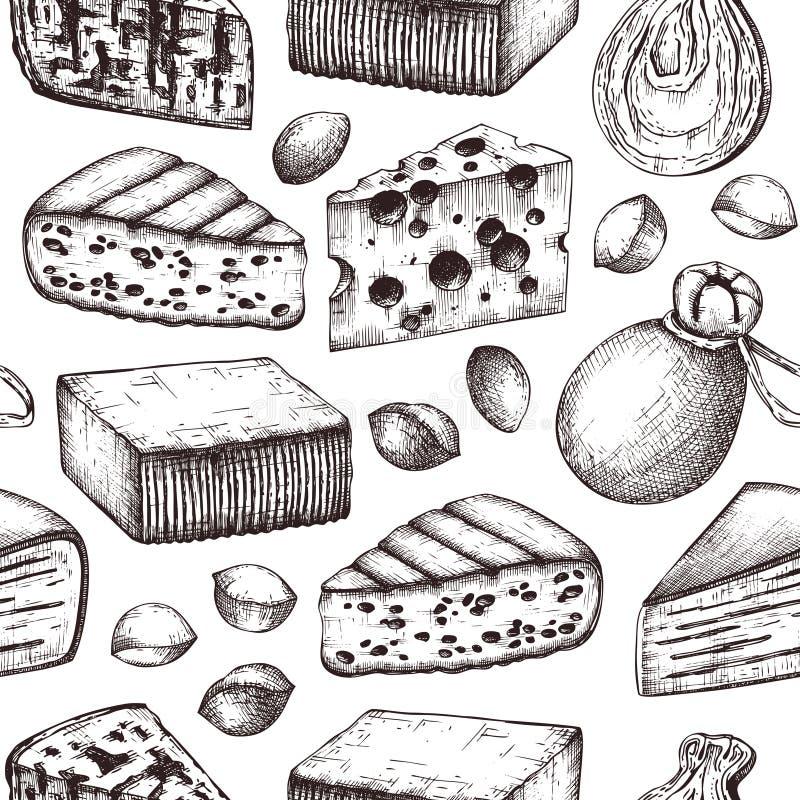Naadloos patroon met kaasschetsen De hand getrokken illustraties van het restaurantvoedsel Uitstekende zuivelproductenachtergrond vector illustratie