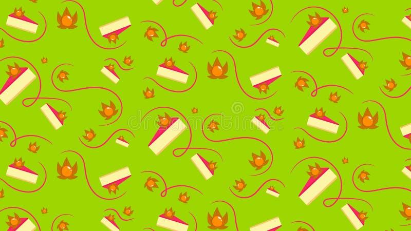 Naadloos patroon met kaastaart en physalis stock illustratie