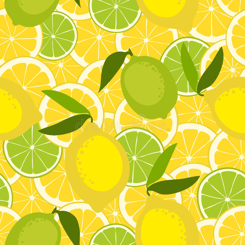 Naadloos patroon met kalk en citroen stock illustratie