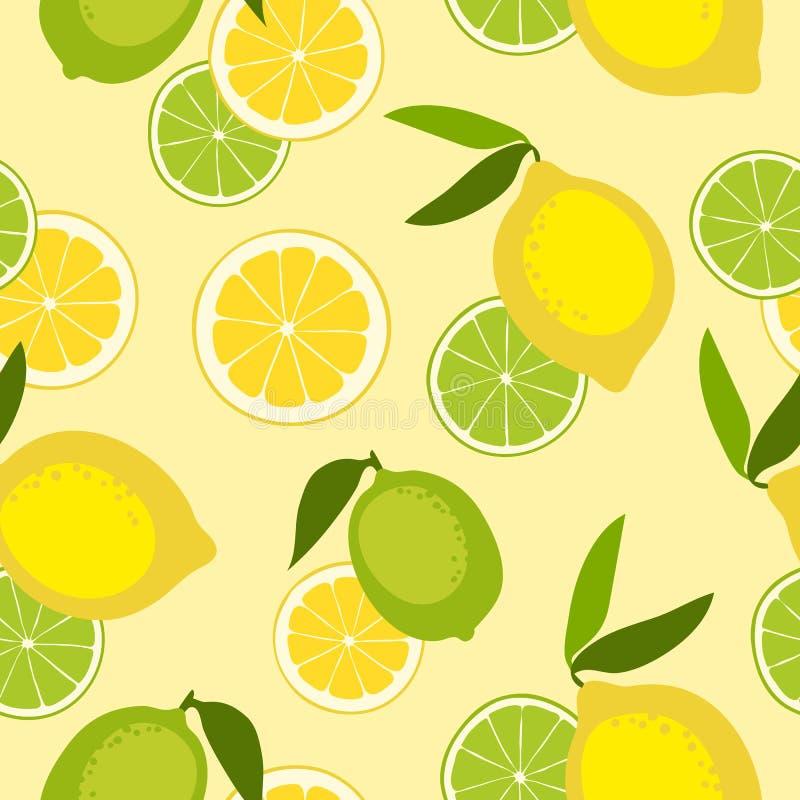 Naadloos patroon met kalk en citroen vector illustratie