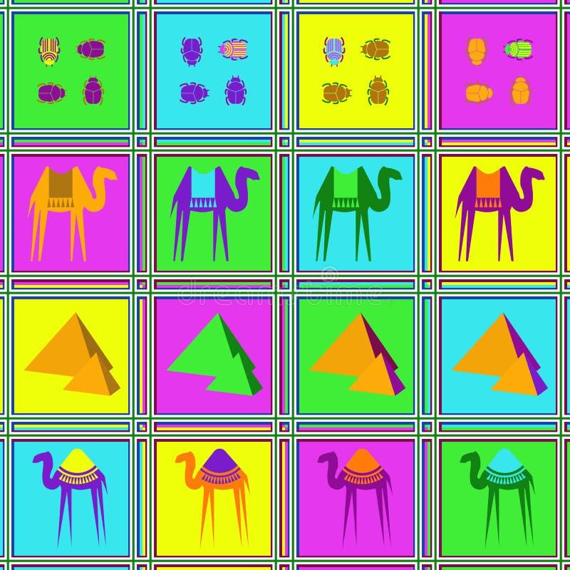 Naadloos patroon met kamelen, kevers en palmen royalty-vrije illustratie
