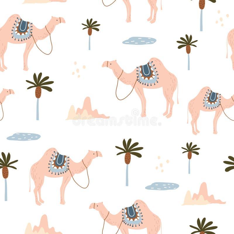 Naadloos patroon met kamelen in woestijn De creatieve Skandinavische textuur van stijljonge geitjes voor stof, het verpakken, tex royalty-vrije illustratie