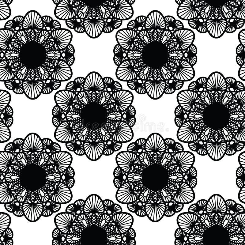 Naadloos patroon met kant, ronde doily, vector stock illustratie