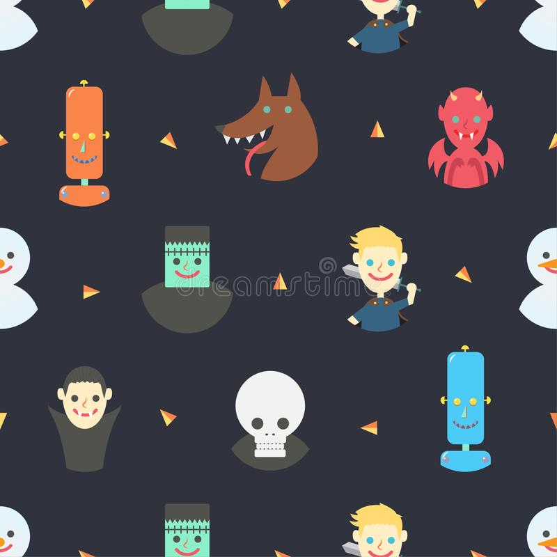 Naadloos patroon met karakters van fantasie op donkere purpere achtergrond, vector royalty-vrije illustratie