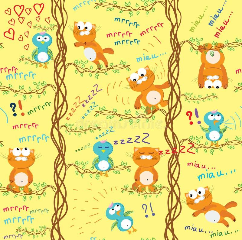 Naadloos patroon met kat & vogel. royalty-vrije illustratie