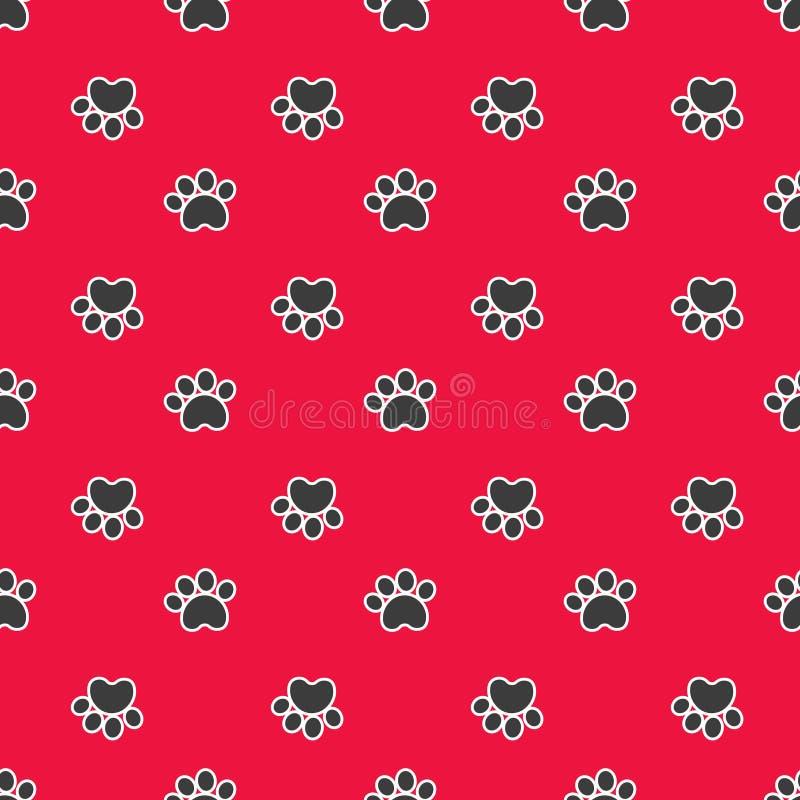 Naadloos patroon met kat of hondvoetafdrukken vector illustratie