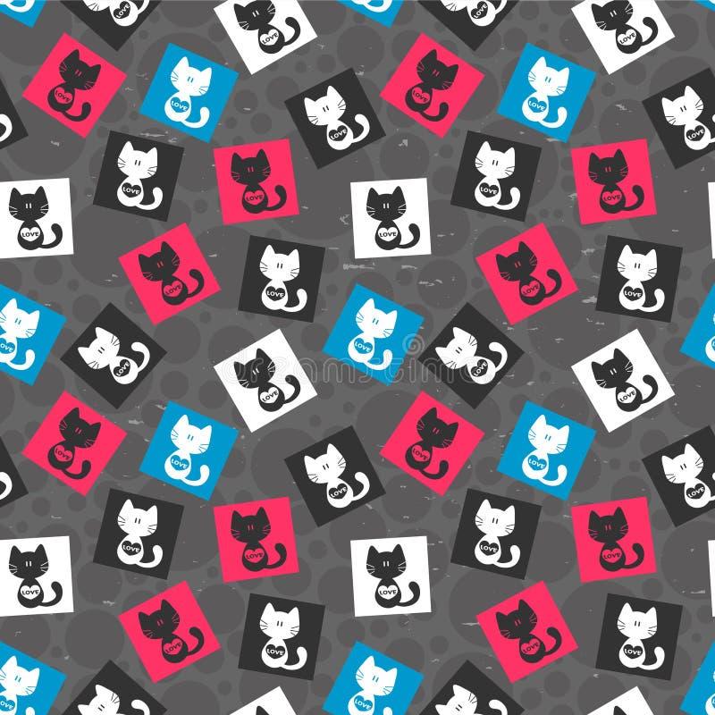Naadloos patroon met katten royalty-vrije illustratie