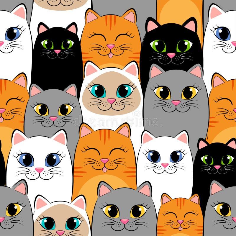 Naadloos patroon met katten Achtergrond met grijs, wit, zwart, gember en siamese katjes royalty-vrije illustratie