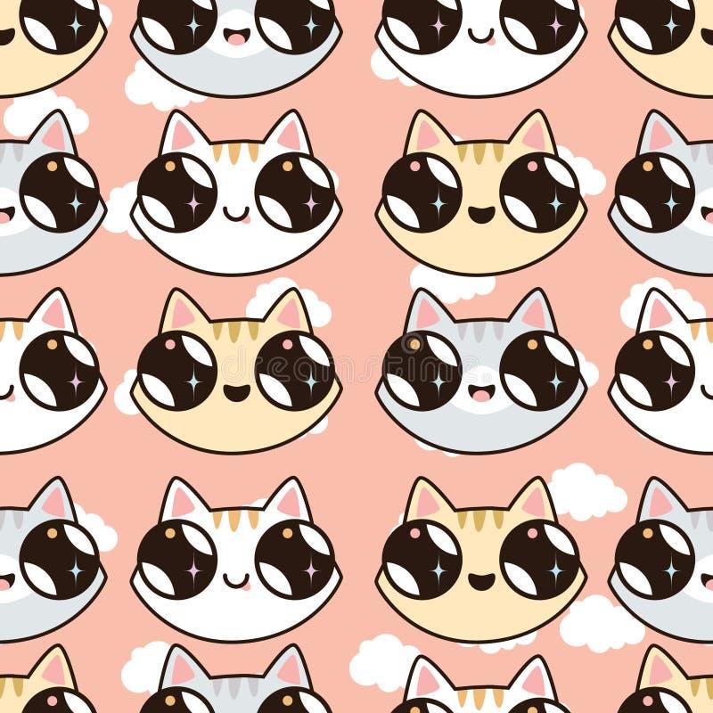 Naadloos patroon met Kawaii-katjes Naadloos patroon van leuke beeldverhaalkatten, dif vector illustratie