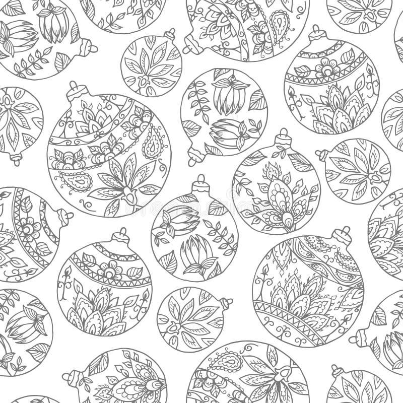 Naadloos patroon met Kerstmisballen Indische de stijldeco van Paisley royalty-vrije illustratie