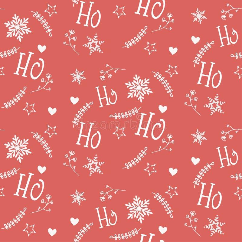Naadloos patroon met Kerstmisornament in wit en rood vector illustratie