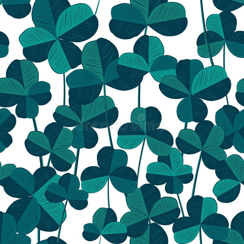 Naadloos patroon met klaver en vier-blad slimme bladeren Vector illustratie In blauw en cyaanpalet royalty-vrije illustratie