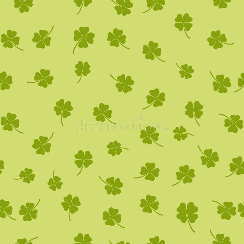 Naadloos patroon met klavertjevier stock afbeelding