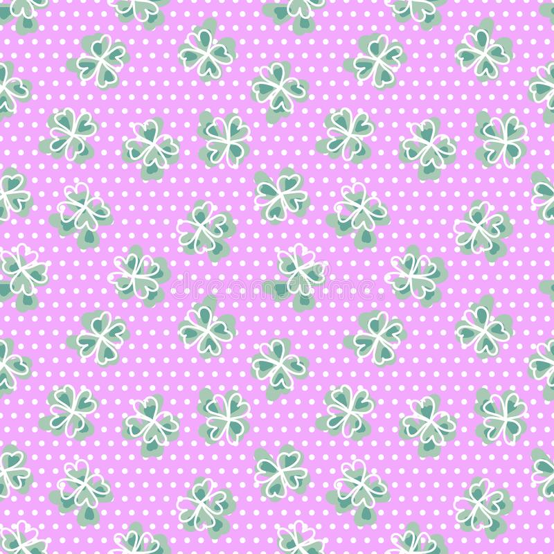 Naadloos patroon met klavertjevier Achtergrond met Skandinavisch ontwerp Groene, roze, witte stip stock afbeeldingen