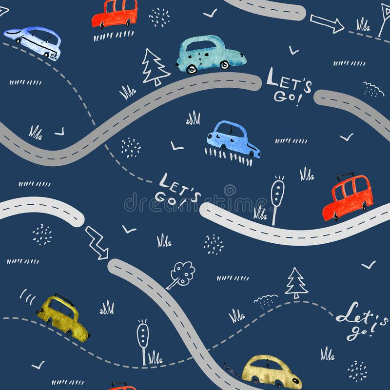 Naadloos patroon met kleine auto's en verkeersteken op donkere marineachtergrond vector illustratie