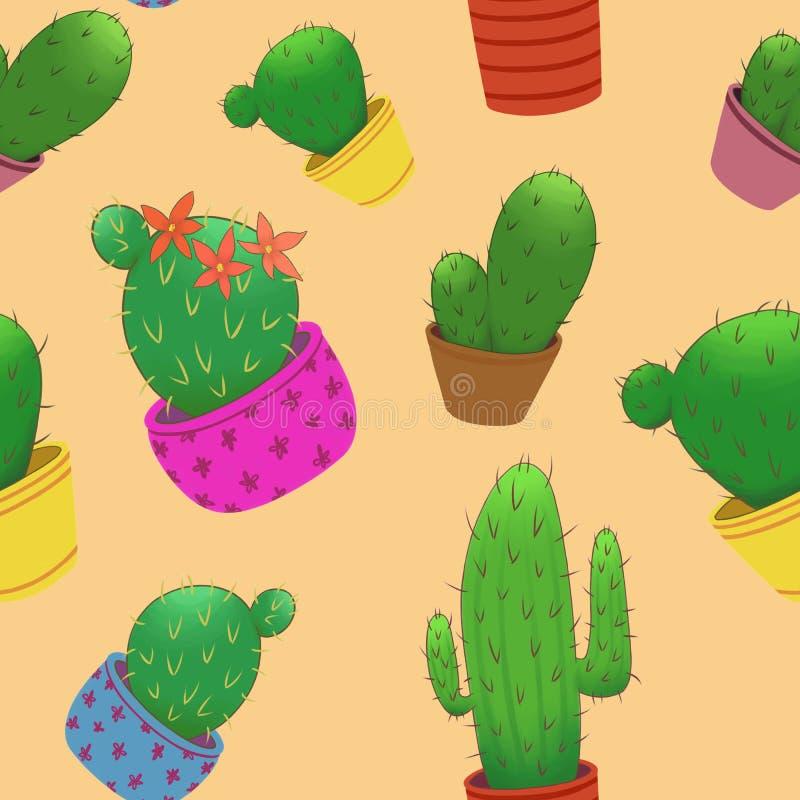 Naadloos patroon met kleine cactussen in potten