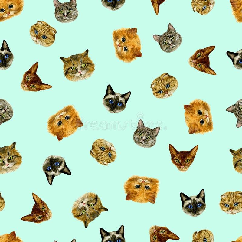 Naadloos patroon met kleine kattensnuiten op een gekleurde achtergrond watercolour De tekening van de hand Groot voor stof, verpa vector illustratie