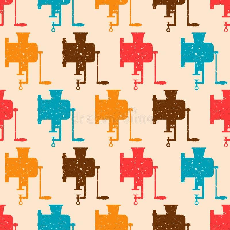 Naadloos patroon met kleuren retro molens stock illustratie