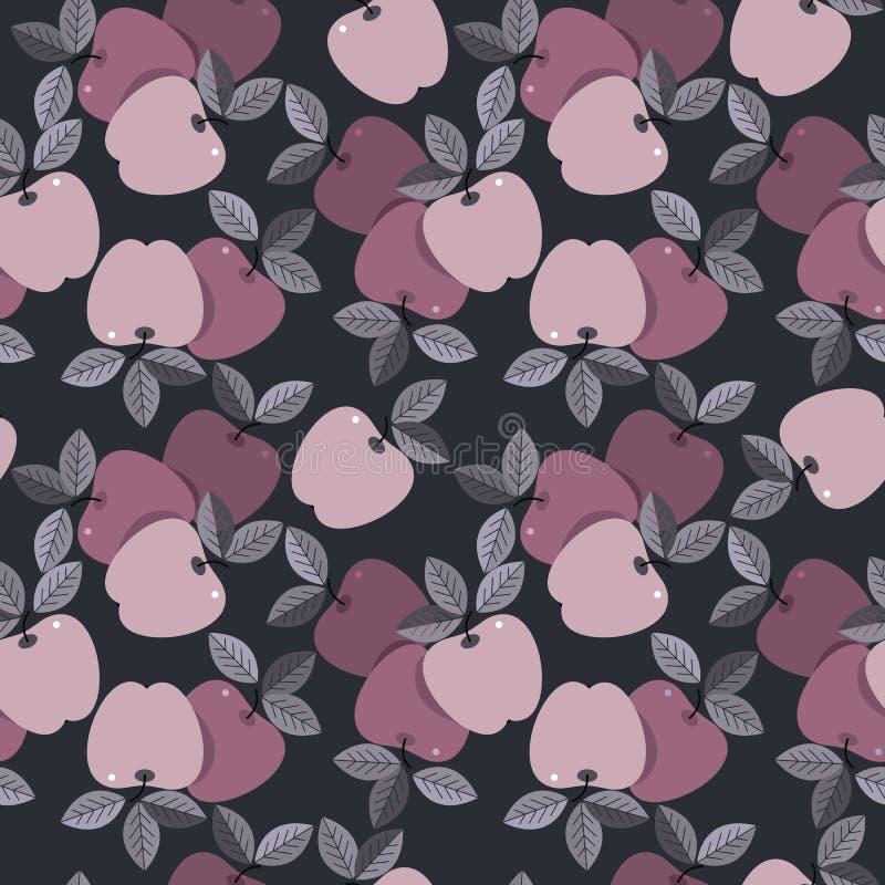Naadloos patroon met kleurrijke appelen op blauwe backgroun stock illustratie
