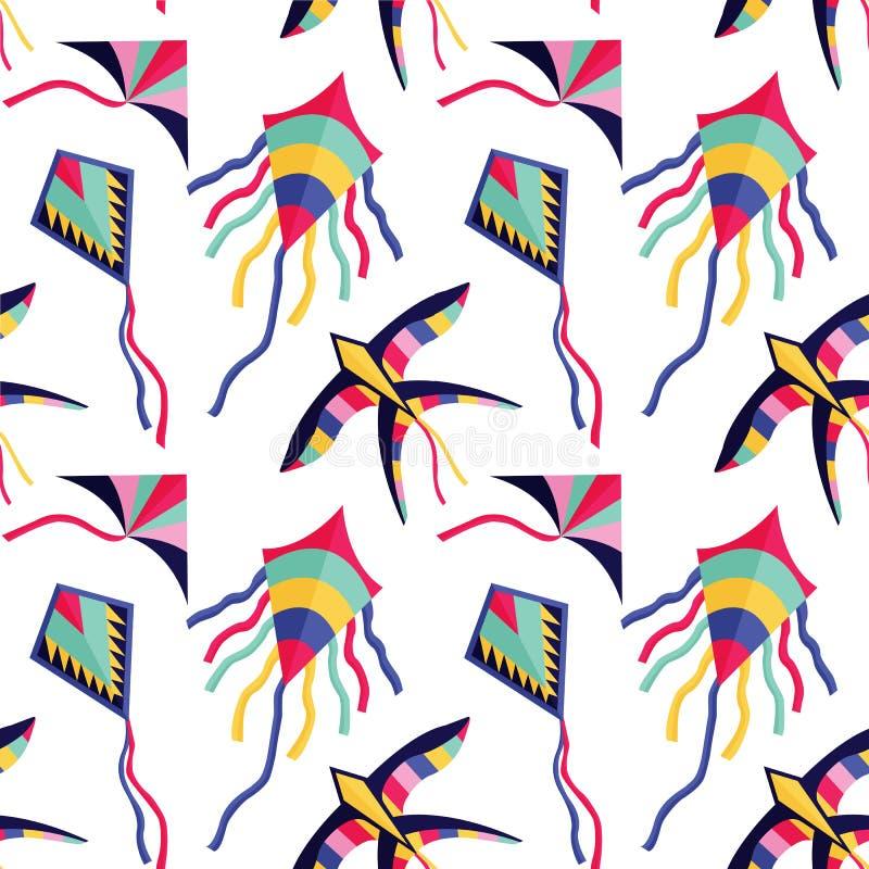 Naadloos Patroon met Kleurrijke Beeldverhaal Vliegende Vliegers stock illustratie
