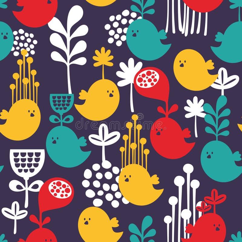 Naadloos patroon met kleurrijke beeldverhaalvogels. vector illustratie