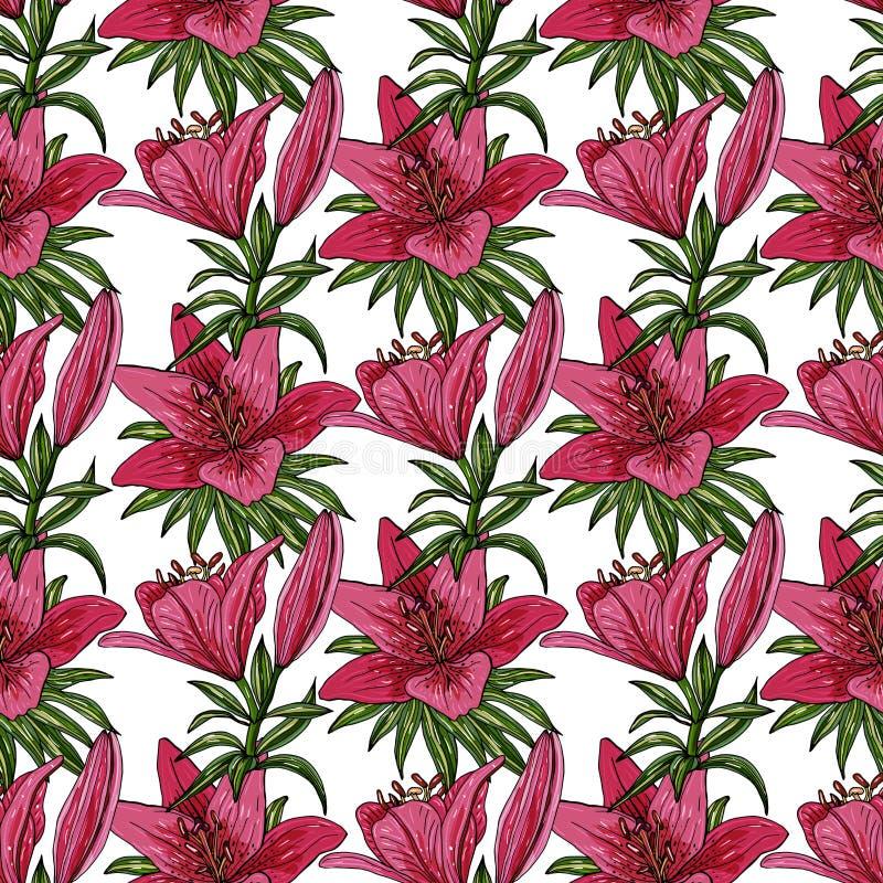 Naadloos patroon met kleurrijke boeketten van verschillende lelies vector illustratie
