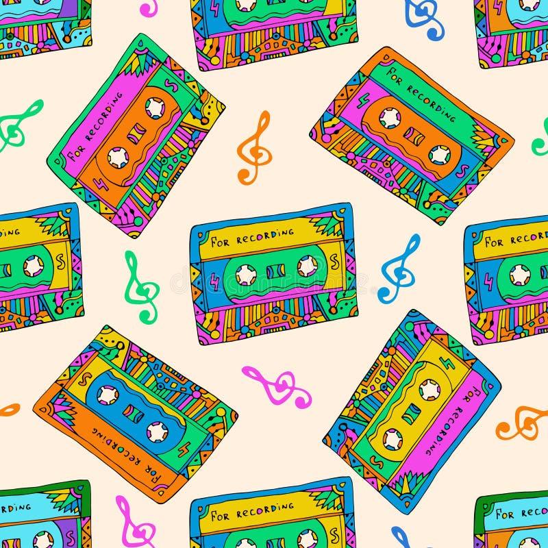 Naadloos patroon met kleurrijke cassettes De stijl van de hippie Krabbel muzikale textuur voor het verpakken, stof Vector royalty-vrije illustratie