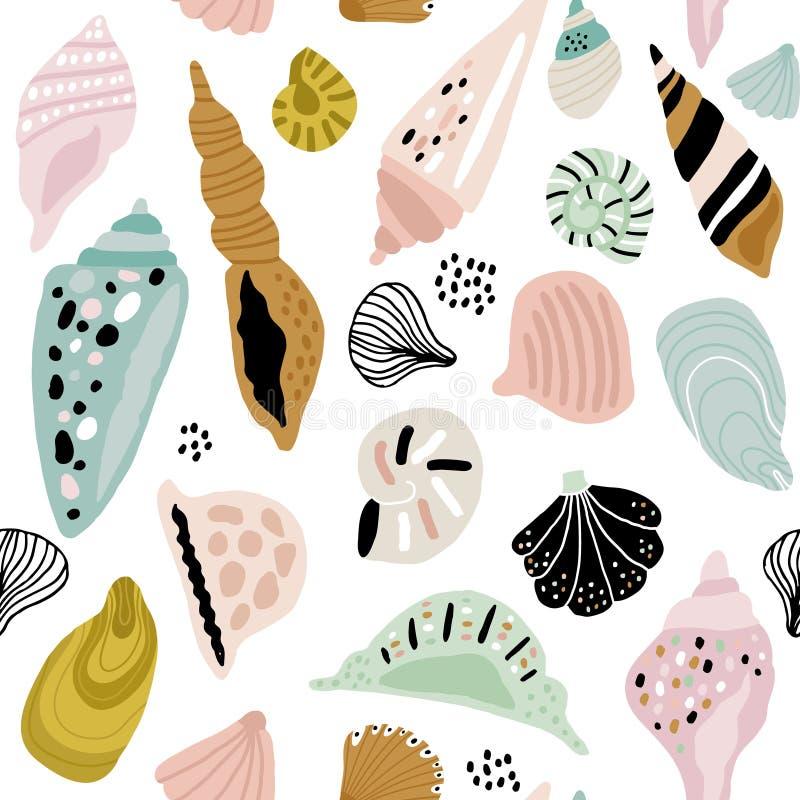 Naadloos patroon met kleurrijke creatieve zeeschelpen Creatieve mariene textuur Groot voor stof, textiel Vectorillustratie royalty-vrije illustratie