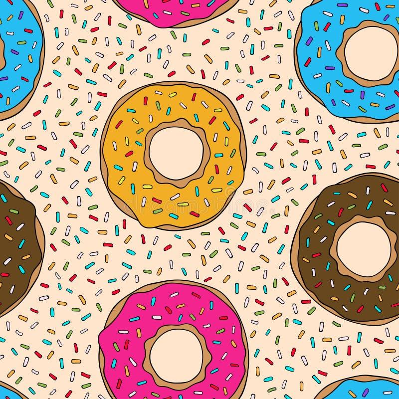 Naadloos patroon met kleurrijke donuts royalty-vrije illustratie