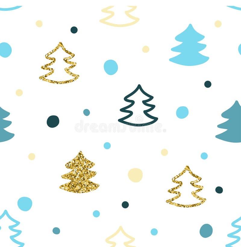 Naadloos patroon met kleurrijke Kerstbomen stock illustratie