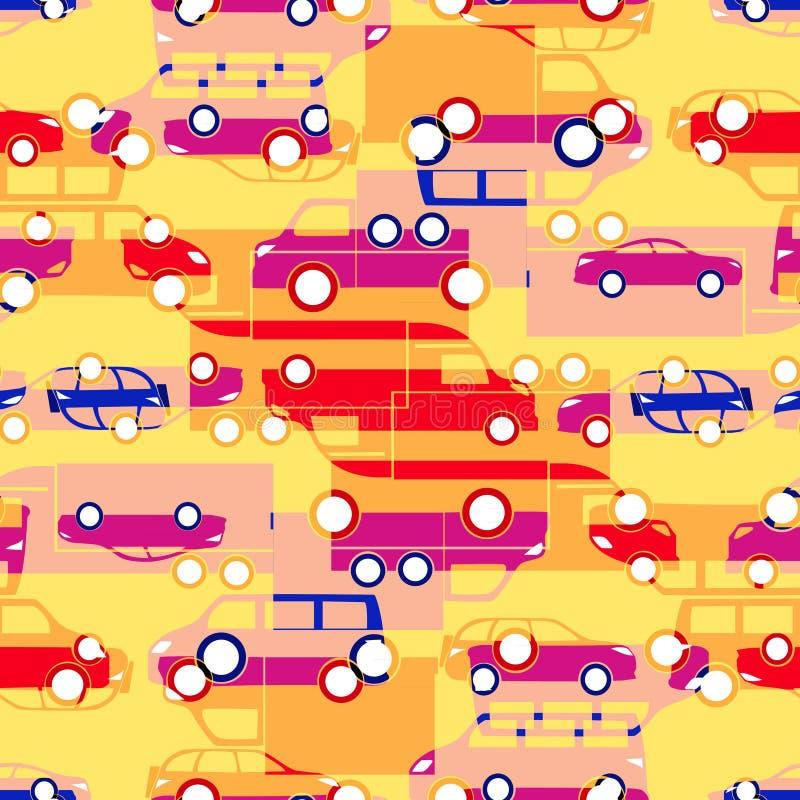 Naadloos patroon met kleurrijke kleine auto's stock illustratie