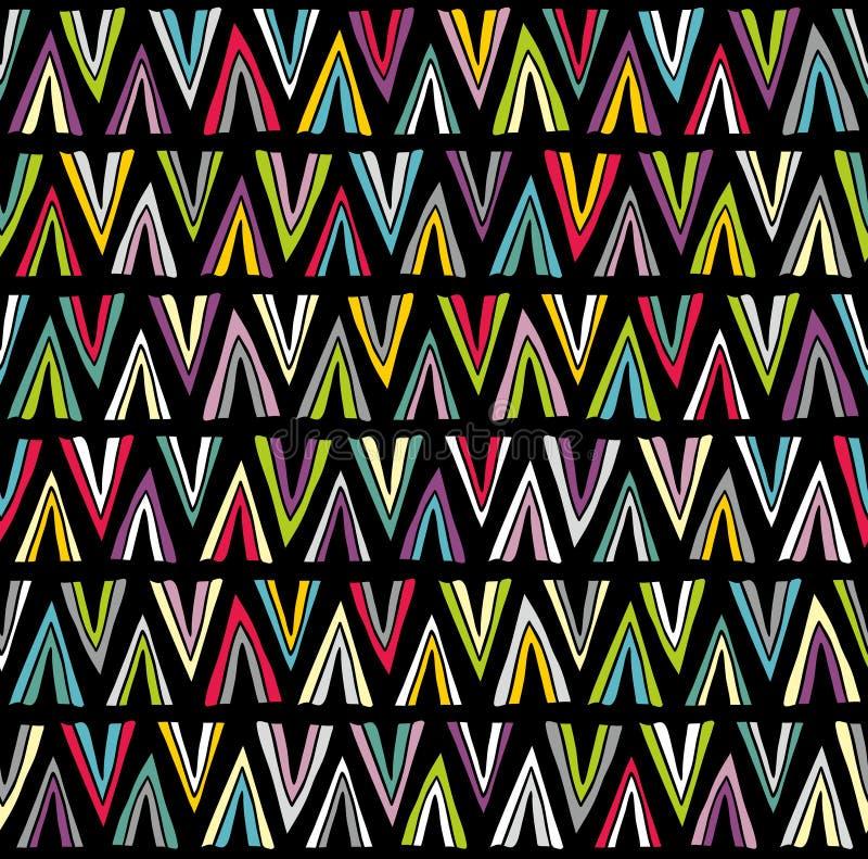 Naadloos patroon met kleurrijke krabbeldriehoeken vector illustratie