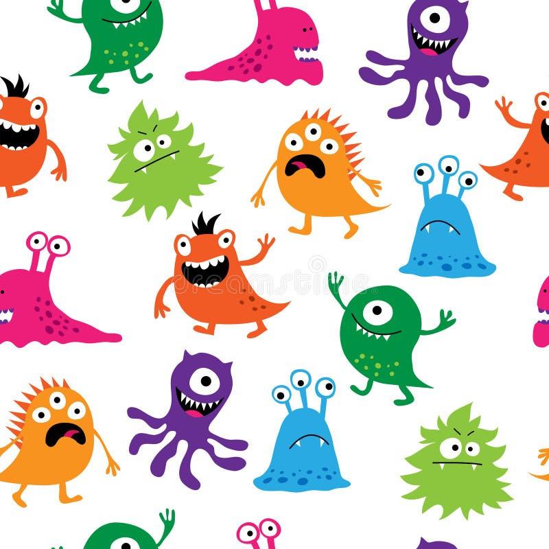 Naadloos patroon met kleurrijke leuke schepselen stock illustratie