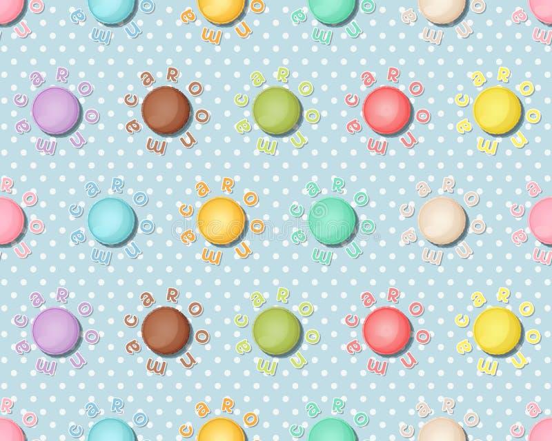 Naadloos patroon met kleurrijke makarons, Macarons-achtergrond royalty-vrije illustratie
