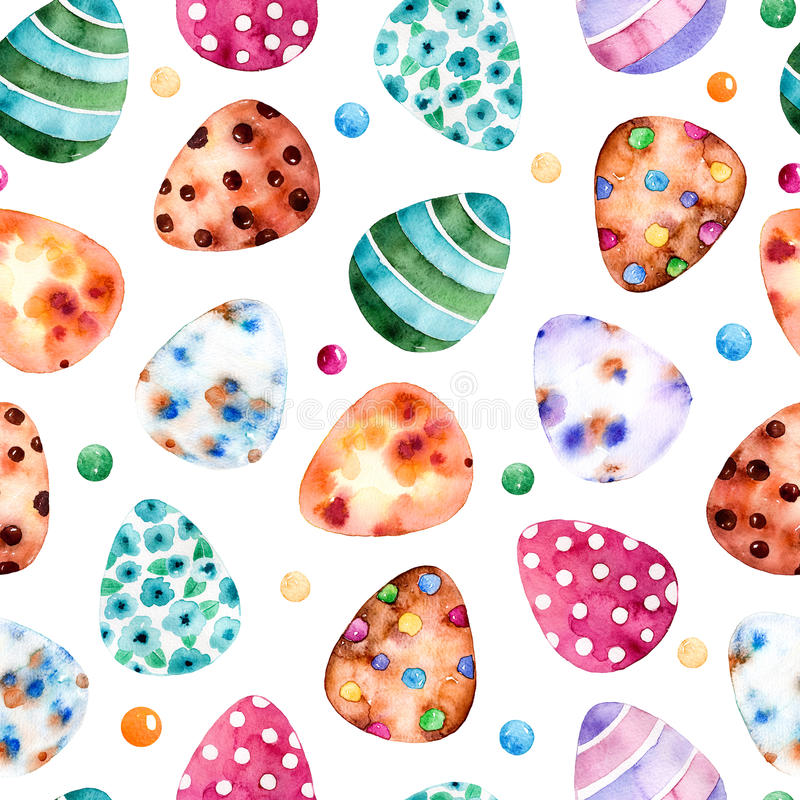 Naadloos patroon met Kleurrijke Paaseieren Clipart op witte bqckground stock illustratie