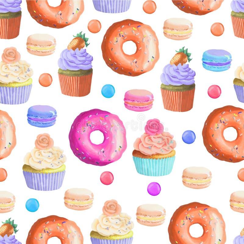 Naadloos patroon met kleurrijke snoepjes stock illustratie