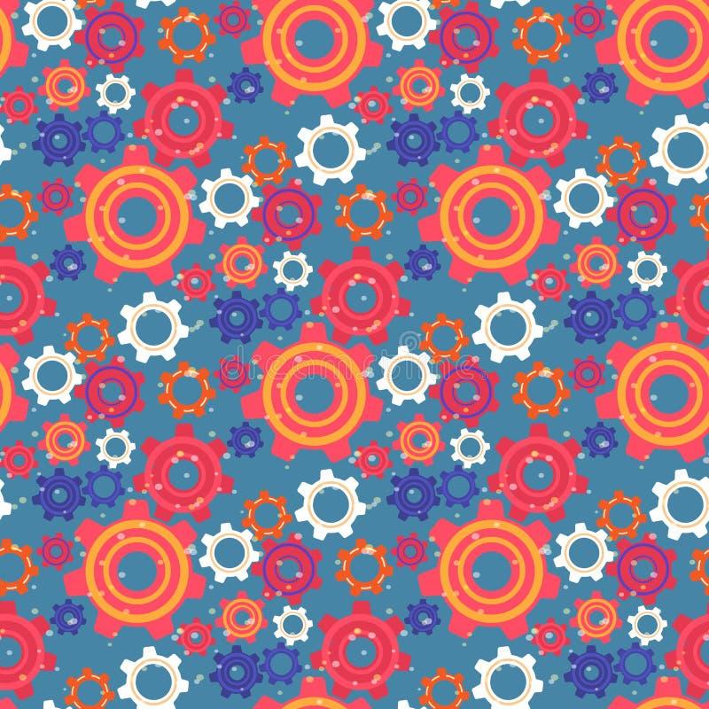 Naadloos Patroon met Kleurrijke Toestellen en Tandraderen stock illustratie