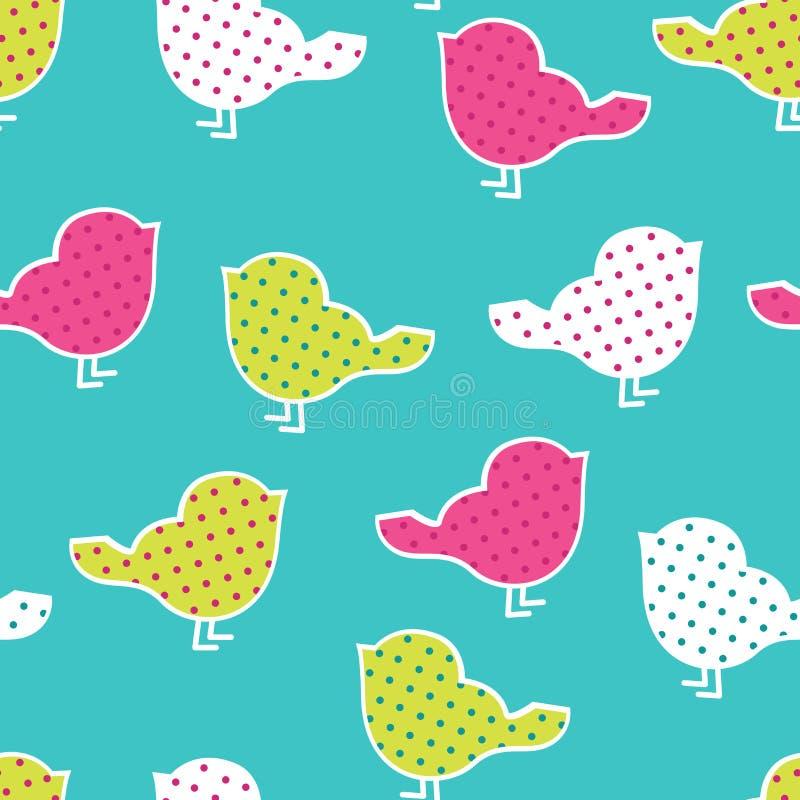 Naadloos patroon met kleurrijke vogels royalty-vrije illustratie