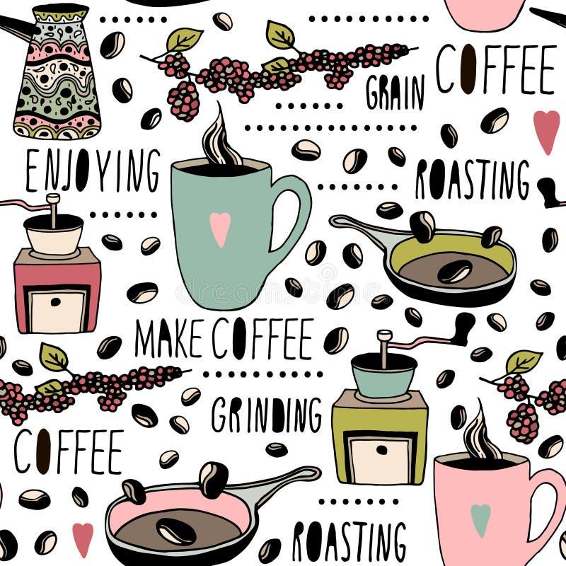 Naadloos patroon met koffievoorwerpen Hand getrokken koffietextuur Perfectioneer voor keukentextiel, koffie verpakking, enz. vector illustratie