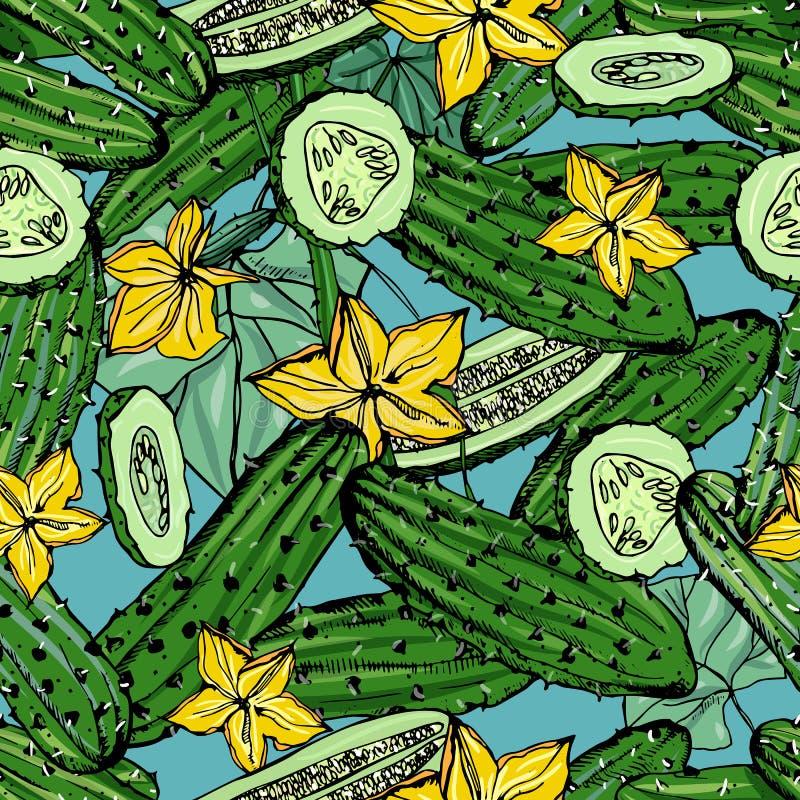 Naadloos patroon met komkommer, plak, bloem Kleurrijke hand getrokken achtergrond met groenten Vectorbehang royalty-vrije illustratie